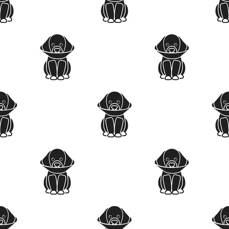 cold compress: Sick dog vector icon in black style for web Illustration