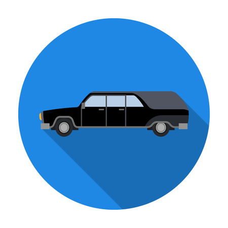Hearse icon in flat style isolated on white background. Funeral ceremony symbol stock vector illustration. Illustration