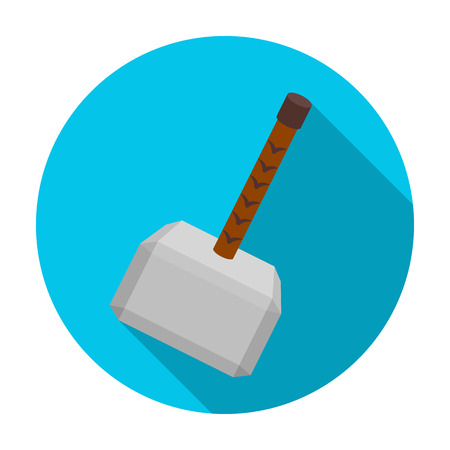 celts: Viking battle hammer icon in flat style isolated on white background. Vikings symbol stock vector illustration.