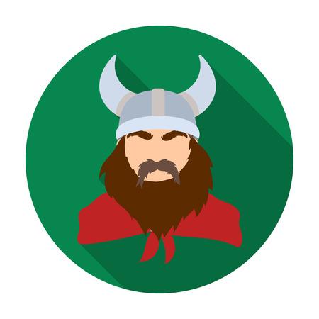 Viking icon in flat style isolated on white background. Vikings symbol stock vector illustration. Illustration