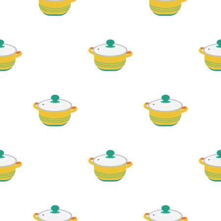 stockpot: Stockpot icon in flat style isolated on white background. Kitchen pattern stock vector illustration. Illustration