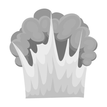nuke: Nuclear explosion icon in monochrome style isolated on white background. Explosions symbol stock vector illustration.