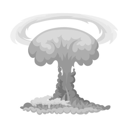 nuclear explosion: Nuclear explosion icon in monochrome style isolated on white background. Explosions symbol stock vector illustration.