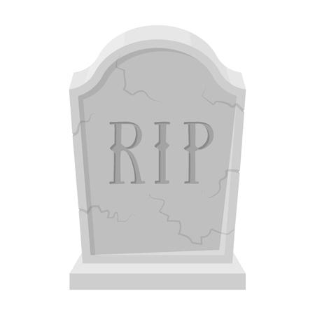 Grafsteen pictogram in zwart-wit stijl geïsoleerd op een witte achtergrond. Begrafenisceremonie symbool voorraad vectorillustratie