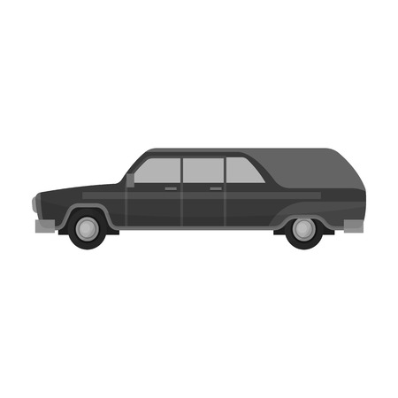 Hearse icon in monochrome style isolated on white background. Funeral ceremony symbol stock vector illustration.