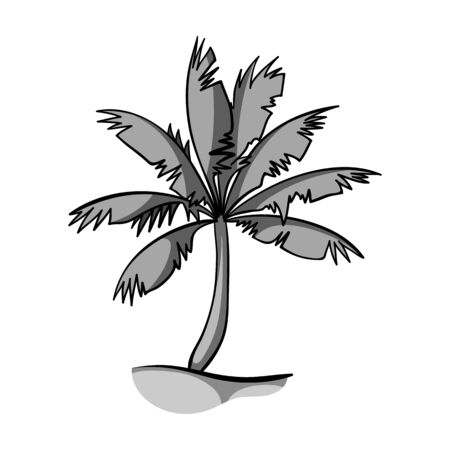 Palm tree icon in monochrome style isolated on white background. Surfing symbol stock vector illustration. Illustration