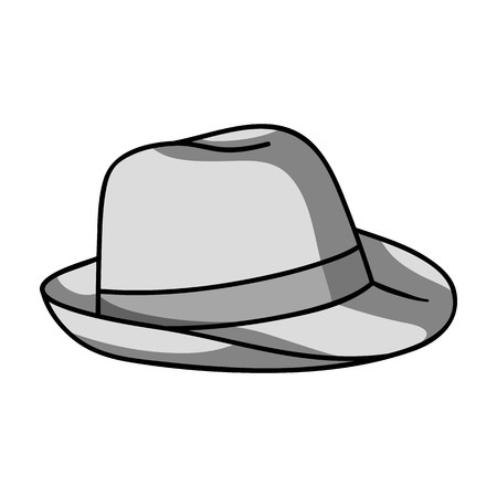 Panama hat icon in monochrome style isolated on white background. Surfing symbol stock vector illustration. Illustration