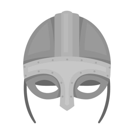 Viking Helmet Icon In Outline Style Isolated On White Background ...
