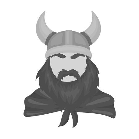 Viking icon in monochrome style isolated on white background. Vikings symbol stock vector illustration.