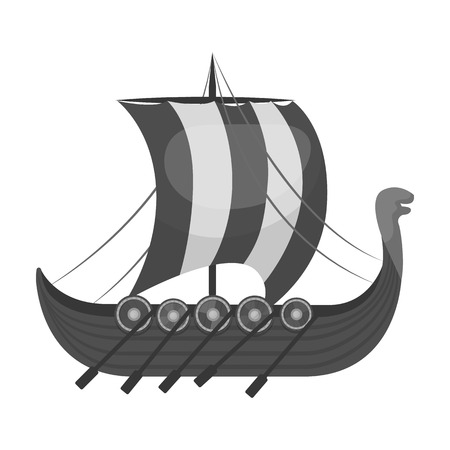 Viking S Ship Icon In Black Style Isolated On White Background ...