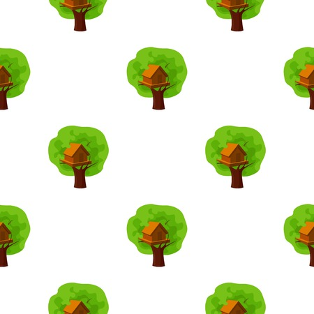 front or back yard: Tree house icon in cartoon style isolated on white background. Play garden pattern stock vector illustration.