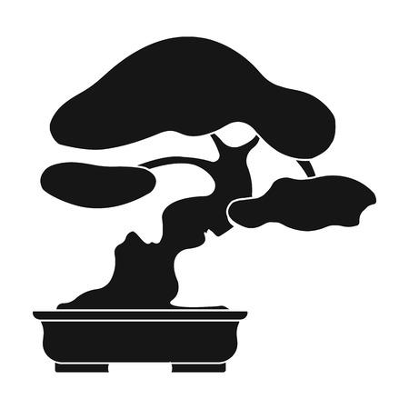 asian gardening: Bonsai icon in black style isolated on white background. Japan symbol stock vector illustration.