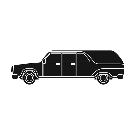 Hearse icon in black style isolated on white background. Funeral ceremony symbol stock vector illustration. Illustration