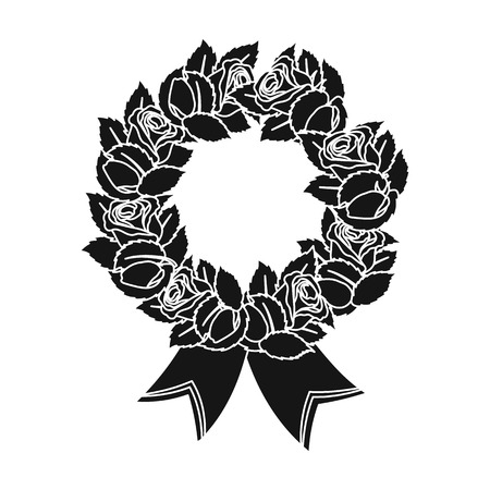 Funeral wreath icon in black style isolated on white background. Funeral ceremony symbol stock vector illustration. Illustration