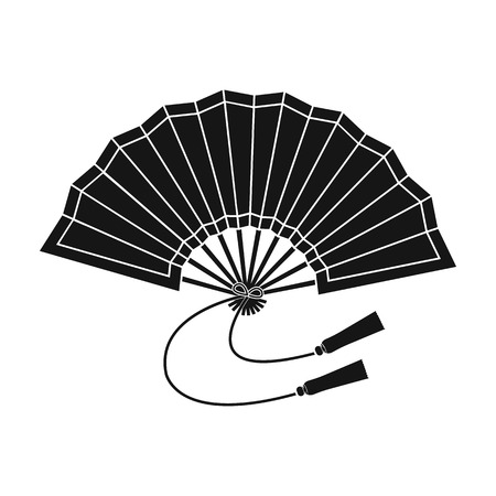 Folding fan icon in black style isolated on white background. Japan symbol stock vector illustration.