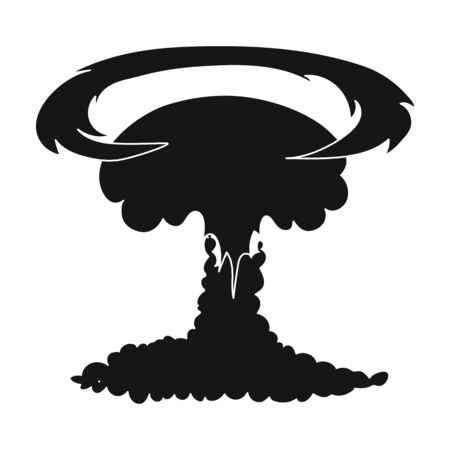 nuke: Nuclear explosion icon in black style isolated on white background. Explosions symbol stock vector illustration. Illustration