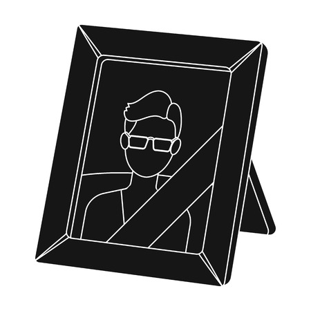 Portrait of deceased person icon in black style isolated on white background. Funeral ceremony symbol stock vector illustration.