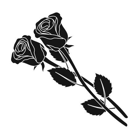 Twee rozen pictogram in zwarte stijl geïsoleerd op een witte achtergrond. Begrafenisceremonie symbool voorraad vectorillustratie Stock Illustratie