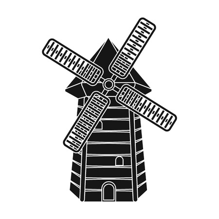 on white: Spanish mill icon in black style isolated on white background. Spain country symbol stock vector illustration.