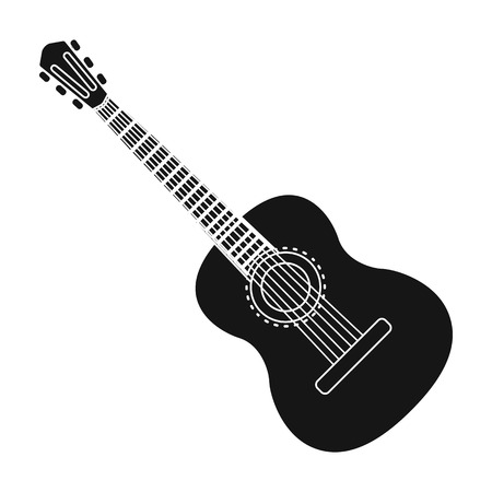 Spanish acoustic guitar icon in black style isolated on white background. Spain country symbol stock vector illustration.