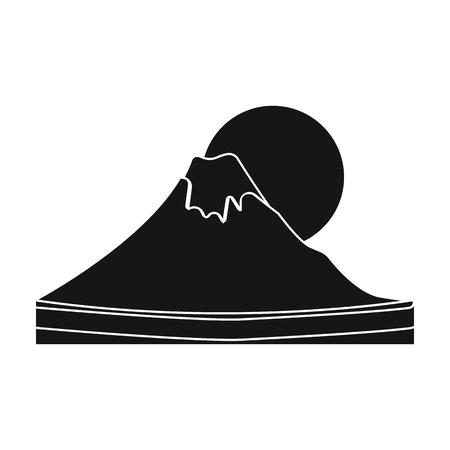 Mount Fuji icon in black style isolated on white background. Japan symbol stock vector illustration. Illustration