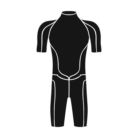 wetsuit: Wetsuit icon in black style isolated on white background. Surfing symbol stock vector illustration.