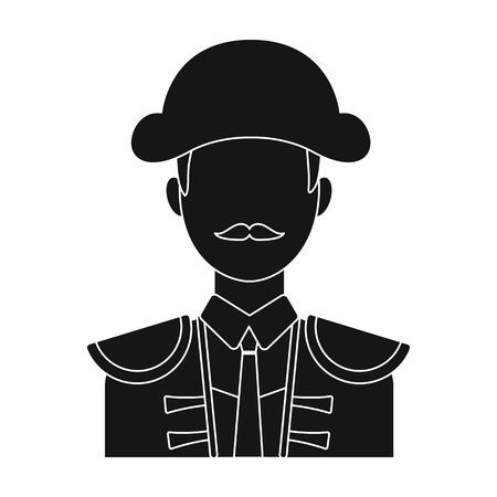 Matador-Symbol in schwarz-Stil auf weißem Hintergrund. Spanien Land Symbol Vektor-Illustration.