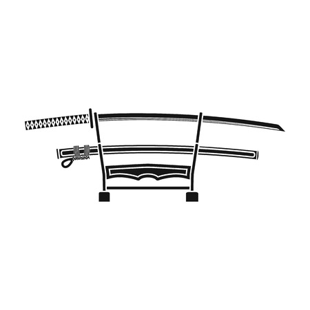 katana: Katana icon in black style isolated on white background. Japan symbol stock vector illustration.