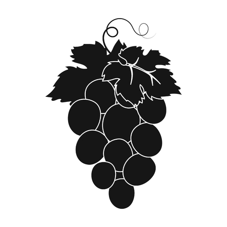 concord: Bunch of wine grapes icon in black style isolated on white background. Spain country symbol stock vector illustration.