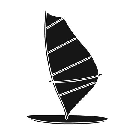Planche à voile icône dans le style noir isolé sur fond blanc. Surf symbole boursier illustration vectorielle.