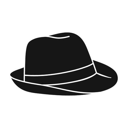 パナマの帽子アイコンを白い背景に分離された黒のスタイル。サーフィン シンボル株式ベクトル イラスト。  イラスト・ベクター素材