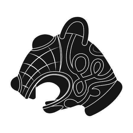 scandinavia: Animal head of viking s ship icon in black style isolated on white background. Vikings symbol stock vector illustration.