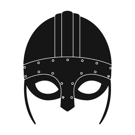 Viking helmet icon in black style isolated on white background. Vikings symbol stock vector illustration.