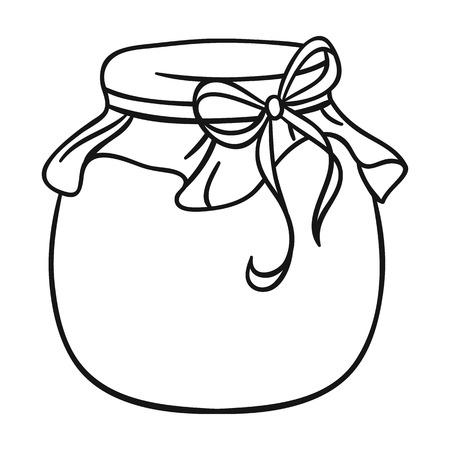 アウトライン スタイルの白い背景で隔離の蜂蜜アイコンの瓶。Apairy シンボル株式ベクトル図