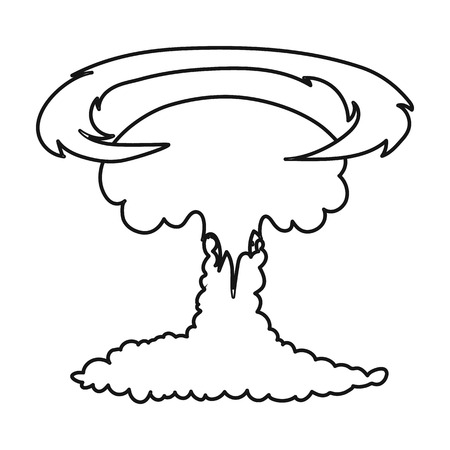 nuclear explosion: Nuclear explosion icon in outline style isolated on white background. Explosions symbol stock vector illustration. Illustration