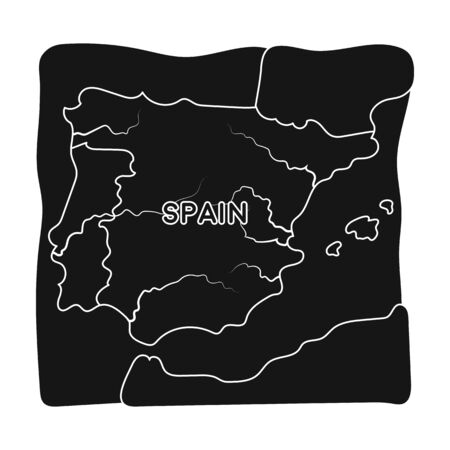 Territory of Spain icon in black style isolated on white background. Spain country symbol stock vector illustration. Illustration