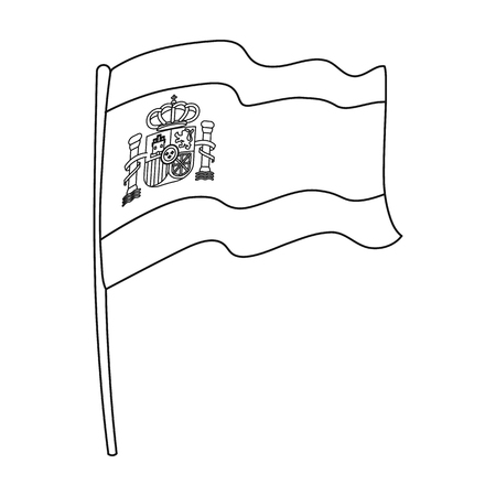 Flag of Spain icon in outline style isolated on white background. Spain country symbol stock vector illustration.