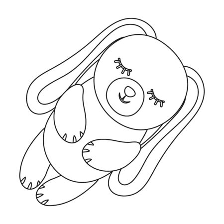 soothers: Toy rabbit icon in outline style isolated on white background. Sleep and rest symbol stock vector illustration.