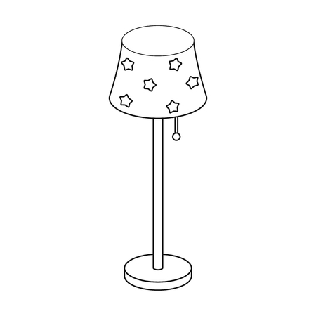 lamp outline: Floor lamp icon in outline style isolated on white background. Sleep and rest symbol stock vector illustration.
