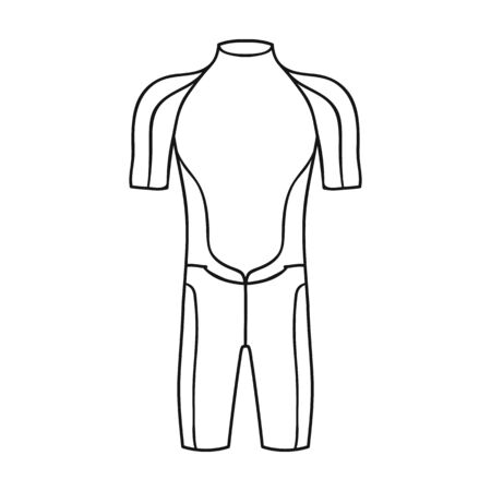 wetsuit: Wetsuit icon in outline style isolated on white background. Surfing symbol stock vector illustration.