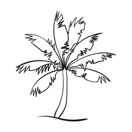 Palm tree icon in outline style isolated on white background. Surfing symbol stock vector illustration.