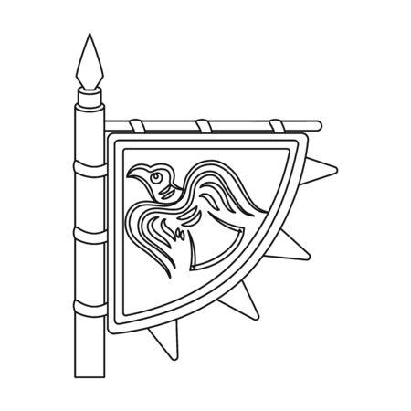 brandishing: Viking s flag icon in outline style isolated on white background. Vikings symbol stock vector illustration. Illustration