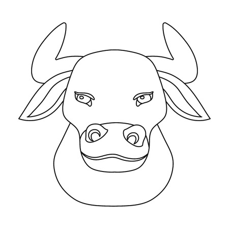 spanish bull: Head of bull icon in outline style isolated on white background. Spain country symbol stock vector illustration.