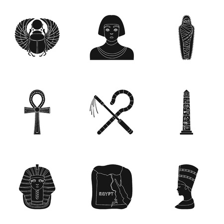 cat goddess: Ancient Egypt set icons in black style. Big collection of ancient Egypt vector symbol stock illustration