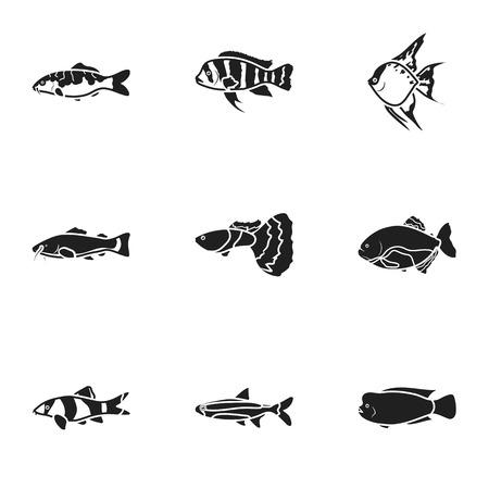 neon fish: Aquarium fish set icons in black style. Big collection of aquarium fish vector symbol stock illustration Illustration