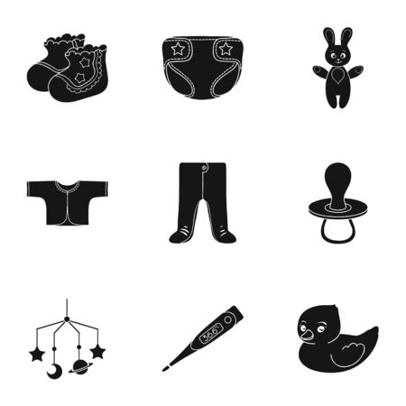 soothers: Baby born set icons in black style. Big collection of baby born vector symbol stock illustration Illustration