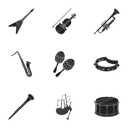 metronome: Musical instruments set icons in black style. Big collection of musical instruments vector symbol stock illustration