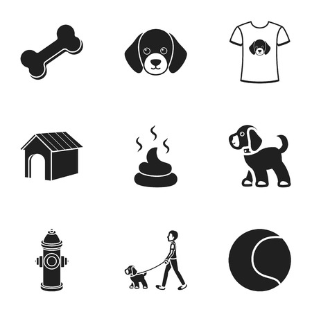 faeces: Dog equipment set icons in black style. Big collection dog equipment vector symbol stock illustration