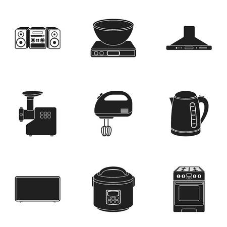 Household appliances set icons in black style. Big collection of household appliances vector symbol stock illustration