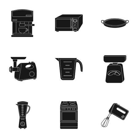 stockpot: Kitchen set icons in black style. Big collection of kitchen vector symbol stock illustration Illustration